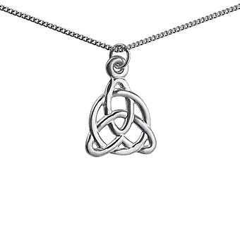 Silver 19x18mm celtic Trinity knot design Pendant with a 1.3mm wide curb Chain 24 inches