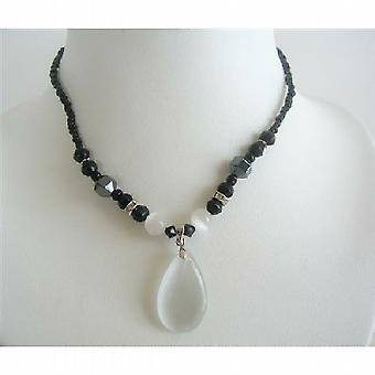 Opal Vit Cat Eye Teardrop Pendant Black Beaded Choker Necklace