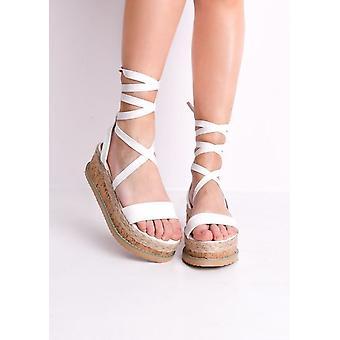 Croc Print Lace gevlochten Cork wig platte Espadrille sandalen wit