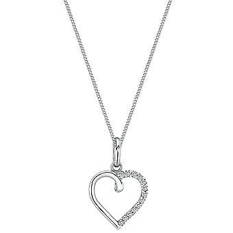 Bella Half Cubic Zirconia Open Heart Pendant - Silver