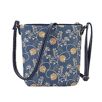 Jane austen blue shoulder sling bag by signare tapestry / sling-aust