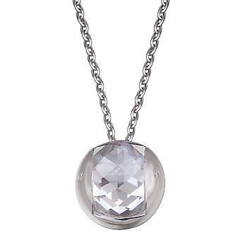 PENDANT WITH CHAIN BALL 925 SILVER ROUND HILL CUT ZIRCONIUM CLEAR