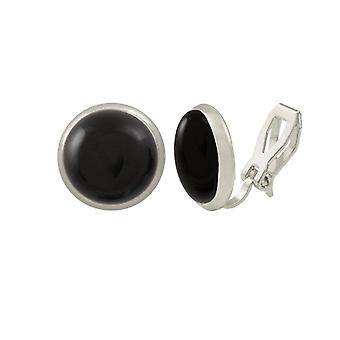 Ewige Sammlung Symphonie schwarzer Onyx Silber Stud Clip auf Ohrringe