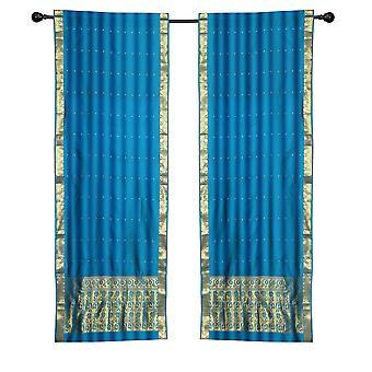 2 Boho blau indische Sari Vorhänge Rod Taschenfenster Fenster Vorhänge