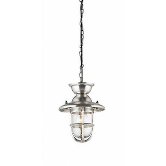 Ceiling Pendant Light Clear Glass, Tarnished Silver