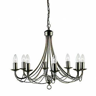 8 luce lampadario ottone antico finitura