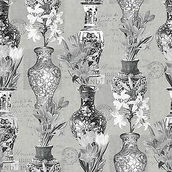 Kyoto Oriental Vases Flowers Wallpaper Blue Cream Grey Silver Metallic Holden