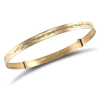 Jewelco London Teens Solid 9ct Yellow Gold Diamond Cut 4mm Expanding Bangle Bracelet