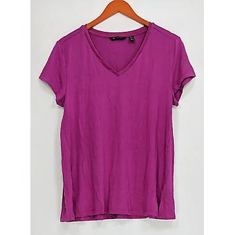 H par Halston Women-apos;s Top Essentials V-Neck w/ Forward Seam Purple A306231