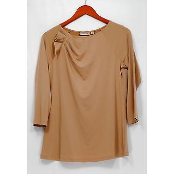 George Simonton Top 3/4 Sleeve Pleated Shoulder Milky Knit Brown A262240