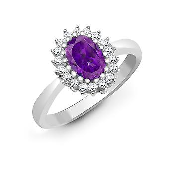 Jewelco London 9ct White Gold H I2 0.23ct Diamond and Oval Purple 0.7ct Amethyst Classic Royal Cluster Ring 11mm