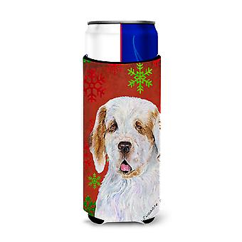 Clumber Spaniel Red and Green Snowflakes Holiday Christmas Ultra Beverage Insula