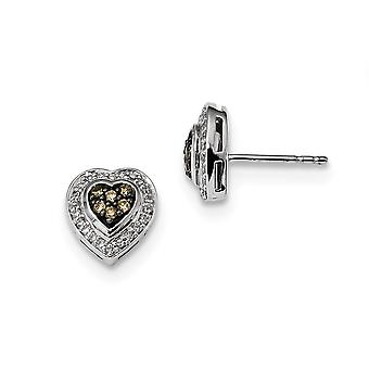 925 Sterling Silver Gift Boxed Cut out kanten Rhodium vergulde Champagne Diamond Small Love Heart Post Oorbellen Sieraden Gif