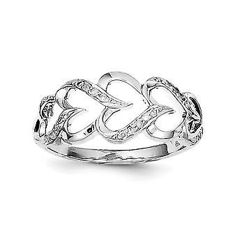 925 plata esterlina pulido rhodio plateado rodio plateado diamante amor corazón anillo de joyería regalos para las mujeres - tamaño del anillo: