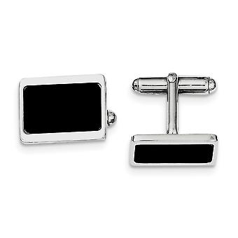 925 Sterling Silver Solid Enamel Polished Rhodium plated Rhodium Plated Cuff Links Jewelry Gifts for Men