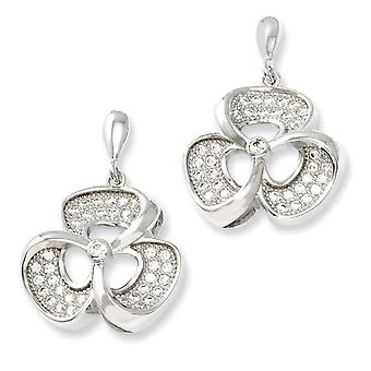 925 Sterling Silver Dangle Rhodium plated and CZ Cubic Zirconia Simulated Diamond Fancy Post Earrings Jewelry Gifts for