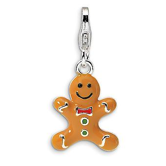 925 Sterling Silver Rhodium plated Fancy Lobster Closure 3 D Enameled Gingerbread Cookie With Lobster Clasp Charm Pendan