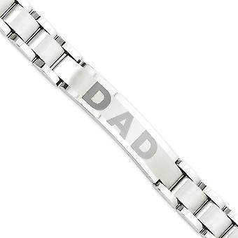 Edelstahl Falten über Laser geätzt gebürstet und poliert 8,75 Zoll Papa Armband Schmuck Geschenke für Frauen