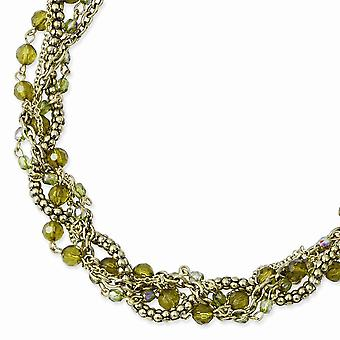 Fancy Lobster Closure Brass tone Green Acrylic Beads 16inch With Ext Twisted Necklace Jewely Gifts for Women