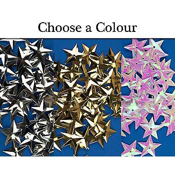 50 Choice of Colours 18mm Sequin Stars with Holes for Crafts