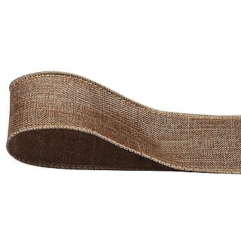 10m Hessian or Jute 40mm Wide Wired Ribbon for Gift Wrap Crafts