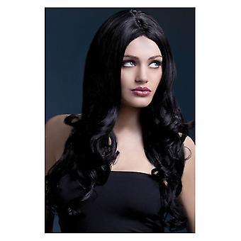 Womens feber Carols peruk svart maskeraddräkter tillbehör