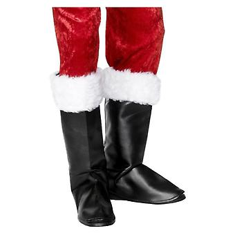 Santa Boot Covers, Black, with Fur Fancy Dress Accessory