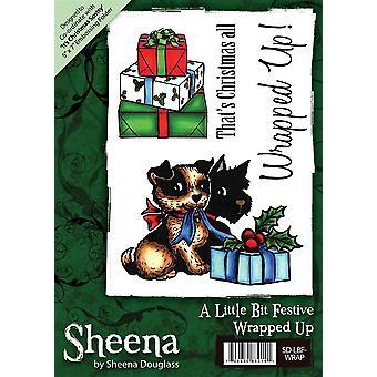 Sheena Douglass A6 Timbre en caoutchouc de Noel - Enveloppé vers le haut