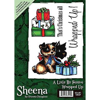 Sheena Douglass A6 Christmas Rubber Stamp - Wrapped Up