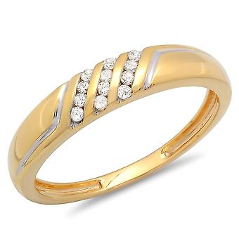 Dazzlingrock Collection 0.15 Carat (ctw) 10K Round White Diamond Men's Channel Set 3 Row Wedding Band Anniversary Ring, Yellow Gold