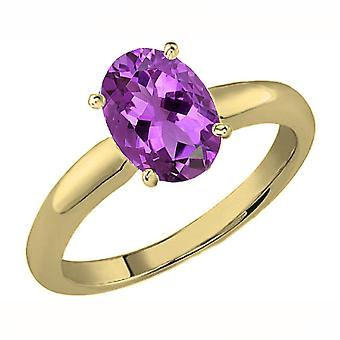 Dazzlingrock Collection 10K 8X6 MM Oval Cut Amethyst Ladies Solitaire Bridal Engagement Ring, Yellow Gold