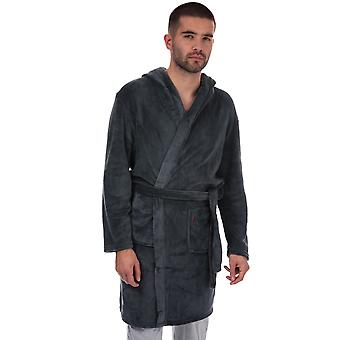 Mens Farah Rivero Hooded Dressing Gown In Navy- Hooded- Pockets To Side- Belt