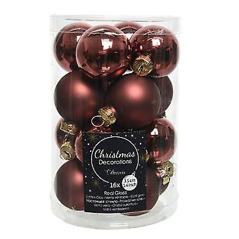 16 3.5cm Rosewood Brown Glass Christmas Tree Bauble Decorations