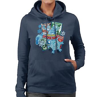 Marvel Christmas Amazing Spider Man Comics Snowflakes Women's Hooded Sweatshirt