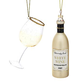 2 Verre Premium White Wine Lovers Christmas Tree Hanging Ornaments