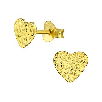 Heart - 925 Sterling Silver Plain Ear Studs - W20953x
