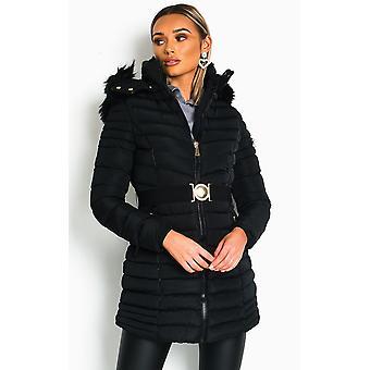 IKRUSH mujer fallon acolchado con capucha longline Puffer chaqueta