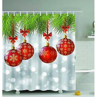 Red Christmas Baubles Shower Curtain