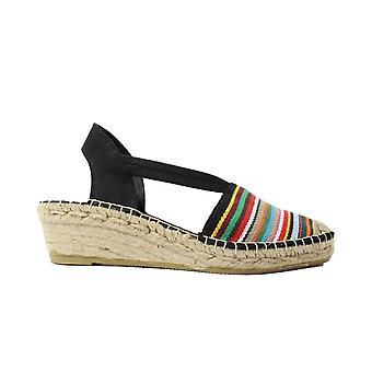 La Maison De L'Espadrille 652 TB Multi Coloured Striped Canvas Womens Pull On Wedge Espadrille Shoes