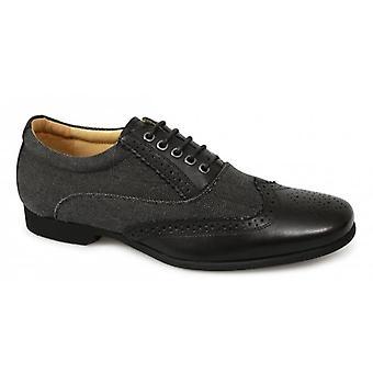 Front Kingston Mens Textile Leather Brogue Shoes Black