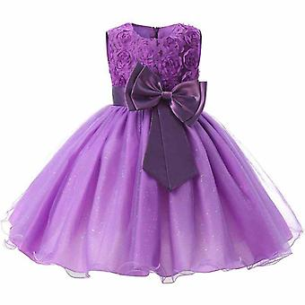 Festive dress with rosette and flowers-purple