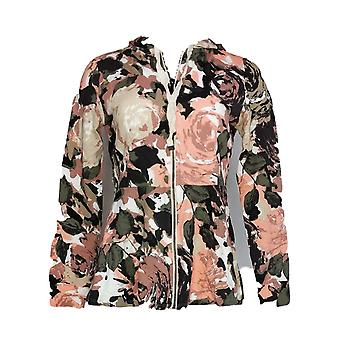 Isaac Mizrahi Live! Mujeres's Suéter XXS Floral Impreso Zip-Front Rosa A351118