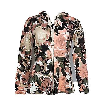 Isaac Mizrahi Live! Kvinder ' s sweater XXS blomstermotiver trykt zip-front pink A351118