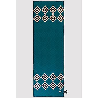 Silk satin scarf in green & navy print