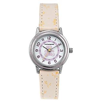 Children's Watch Lulu Castagnette 38902 - Round case m tal White dial Grey leather bracelet