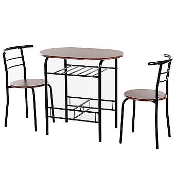 HOMCOM 3-Piece Bar Table Set 2 Stools Industrial Style Dining Room W/ Storage Shelf Metal Frame Wood Top