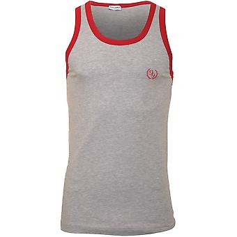 Dolce & Gabbana DG Logo Gym Vest With Contrast Trim, Grey/red