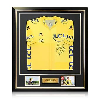 Geraint Thomas Signed Tour De France 2018 Yellow Jersey. Deluxe Frame