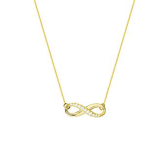 925 Sterling Silver 14k Gold Plated Side sätt Justerbar 1 2 CZ Cubic Zirconia Simulerad Diamond Infinity Halsband 18 I