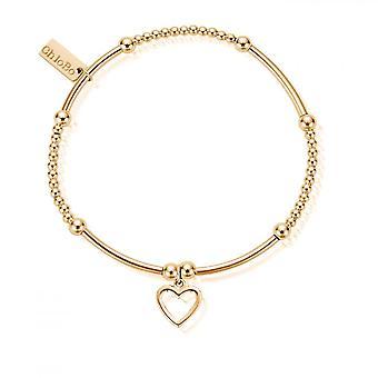 ChloBo Gold Cute Mini Open Heart Bracelet